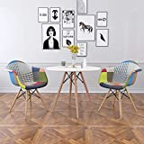Patchwork Armchair,Dining Chair Set Eiffel Style Wooden Retro Lounge Chairs for Diningroom (White Table and 2 Armchairs)