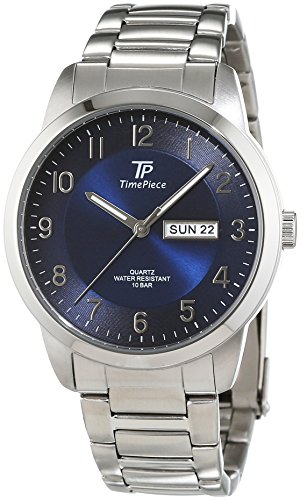 time-piece-mens-quartz-watch-with-blue-dial-analogue-display-and-stainless-steel-gun-metal-tpgs-3030