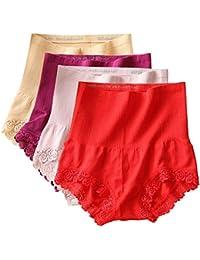 FEOYA Lot de 4 Slips Dentelles Femmes Crosstraining Respirant Doux  Élastique Culottes Collant Ventre Plat Confort Taille Haute sans… 787aece3289