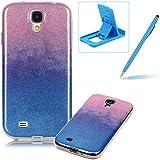 Samsung Galaxy S4 Caja de goma de silicona resistente a los arañazos,Samsung Galaxy S4 Ajuste perfecto La caja del gel de parachoques suave,Herzzer Luxury Elegante [Gradiente de color luz de las estrellas] Piel del arco iris del brillo de la jalea ligero flexible Gel Shell protector de la contraportada para Samsung Galaxy S4 + 1 x Azul pata de cabra + 1 x Azul Lápiz óptico - Rosa y azul