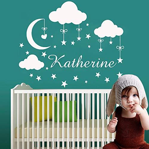 zxddzl Cartoon Benutzerdefinierte Babys Name Cloud Star Vinyl Wandaufkleber Wandsticker Tapete Für Hauptdekoration Kinderzimmer Schlafzimmer Dekor Mural-73x58 cm