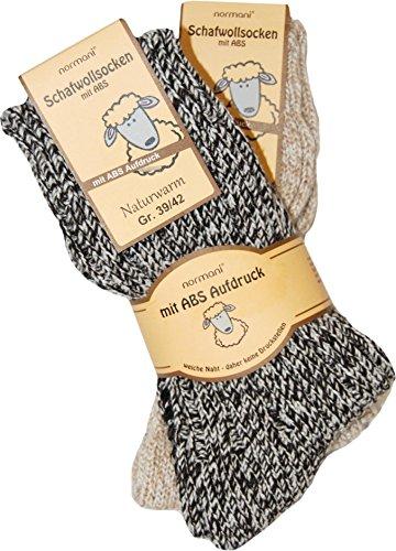 2 Paar Schafwollsocken mit ABS Haussocken mit Schafwolle Farbe Grau-Melange Größe 39/42