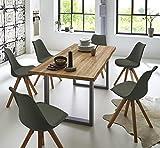 SAM Essgruppe Seattle, Baumkantentisch 180 x 90 cm, silbernes U-Gestell aus Metall + 6X Schalenstuhl Bojan Zement-Grau, Eichenholz