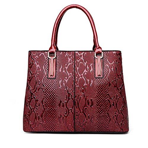 Panzexin Snakeskin modello Borsetta da polso donna rote,Borse a spalla,Borse Donna Nero Rosso