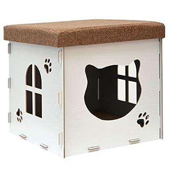 Eyepower Dôme pour Chat 41x41x41cm Taille Moyenne Maison M INCL griffoir boîte carrée avec Couvercle rembourré pour s'asseoir Repose-Pied Blanc