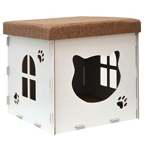 Eyepower rifugio per gatto a grotta 41x41x41cm incl graffiatoio casetta taglia media m con coperchio imbottito per sedersi pouf apribile bianco