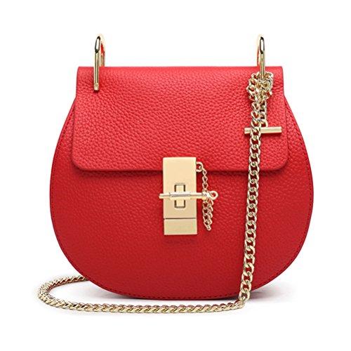 Honeymall Borsa a tracolla spalla Mini borsa / catena maialino nuovo pepe stile retrò moda piccole diagonali Grande Marrone Rosso Piccolo