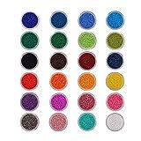 PandaHall Elite 1 Unidades 24 Color 11/0 Redondo Seed Beads de Cristal Marca Tamaño 2 X 1,5 mm con Caja Individual Surtido