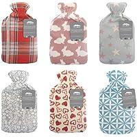 Preisvergleich für Wärmflasche mit weichem Fleece-Bezug, aus natürlichem Gummi, 2Liter, Britisches Design