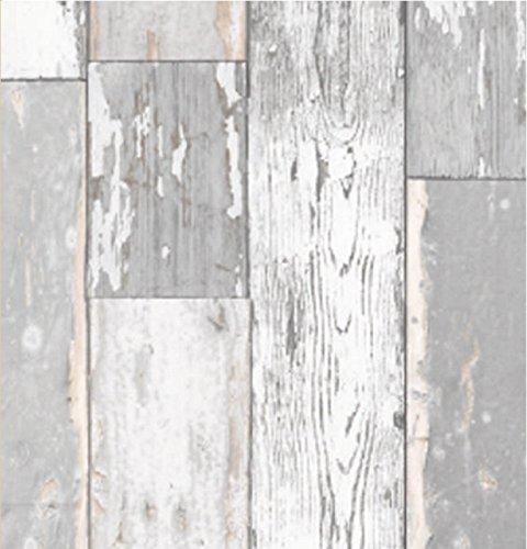 i.stHOME Klebefolie Scrapwood Grau - Möbelfolie Altes Holz - Dekorfolie 45x200 cm -...