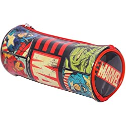 HMI Original Disney & Marvel Licensed PVC Pencil Pouch / Pencil Bag, Round Cylindrical Shaped (Marvel Avengers)
