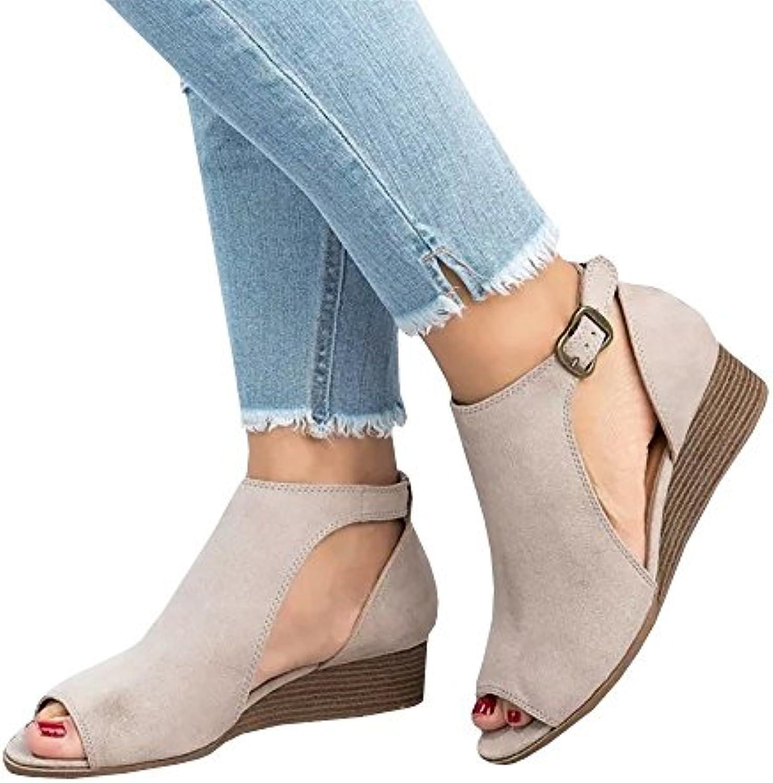 QXH Zapatos de Mujer Sandalias Planas de Tacón bajo de Cabeza Redonda Hebilla del Cinturón