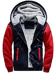 FNKDOR Hommes tops, Mens Hoodie Hiver Chaud Polaire Zipper Pull Veste Outwear Manteau Sweat-shirt à capuche