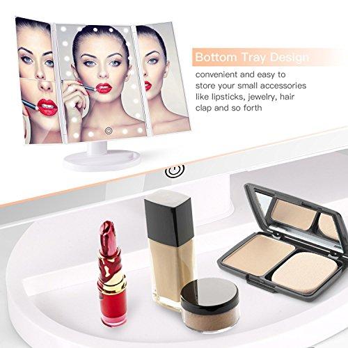 BESTOPE Kosmetikspiegel Beleuchtete Schminkspiegel mit 21 LED-Leuchtmittel Make Up Spiegel 2X/3X Vergrößerung für Arbeits/Tischplatte Bewegliche Kabellose Stromversorgung durch Akku oder USB-Aufladung - 3