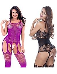 LOVELYBOBO 2 Pack Mujeres Lencería ropa Crotchless Bodystocking interior de camisón de encaje de manga larga Bare inferior (negro+púrpura)