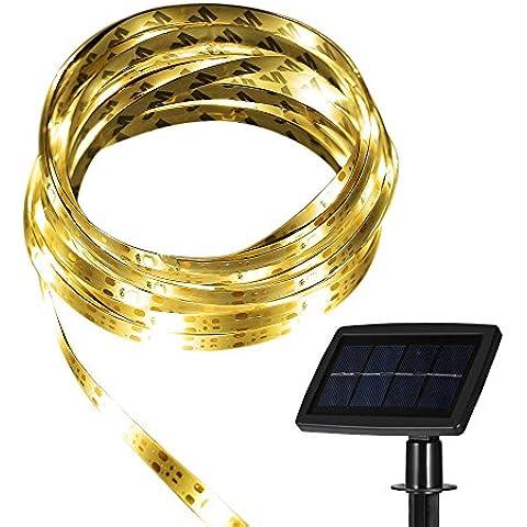 Tira LED GrandBeing Luces Solares 5M, Luz Flexible Impermeable Ultra Brillante Con Panel Solar Para Bodas, Patios, Fiestas o Jardín, Iluminación Para Decoración de Casa Con Cargador (Luz Blanca