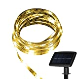 Strip Lights Bright Waterproof Solar LED 5m Rope Lights with Solar Panel, 3M Tape for Weddings, Parties, Festival Events or Garden, House Lighting Decorations (Warm White)
