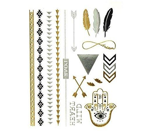 Miya 1Stück Wild Style Metallic Tattoo, Flash Tattoos, temporär tattoo, Gold Schwarz Silber farbig Schmuck Tattoo für Körper Finger Arme, Halskette Armband Flash Tattoos Body Tattoo, TT_YS_04 (Finger-tattoos)