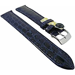 Eulit watch strap Bar Ridging Exclusively High Gloss Crocodile Leather Band in many colours, colours: blue, Width: 15 mm, silver clasp, length: Lady/N
