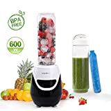 Aigostar Blackberry 30JDH - Mini Mixer 600W Smoothiemaker mit 1 kühl Stock, 2 Reisesportflaschen und 2 Deckel, Tritan Material in...
