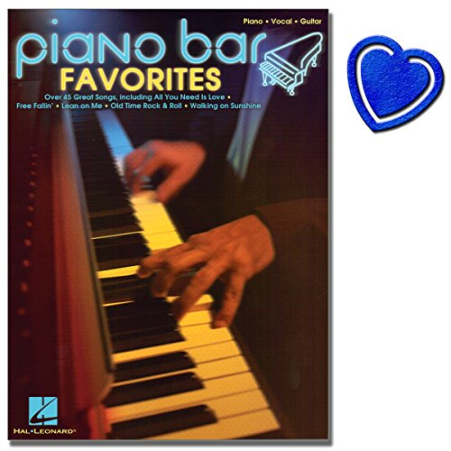 Piano Bar Favorites - Songbook - 45 Klassiker im Bar Piano Stil für Klavier, Gesang, Gitarre - [ Noten / Sheetmusic ] mit bunter herzförmiger Notenklammer -