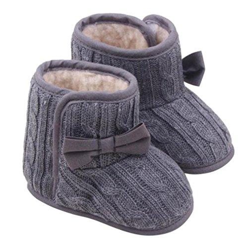 Baby Hausschuhe,bobo4818 Baby Girls Schnee Stiefel Warme Schuhe mit Sticker Butterfly Knoten Shape Wolle Garn Schuhe (Age:6-9M, Gray)