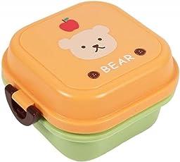 Brotdose für Kinder Junge Mädchen Cartoon 2-Schichten Lunchbox Frühstücksbox Kindergarten Büro Snackbox leicht tragbar Essensbox für Camping Schule Wandern Reise Picknick (Cartoon-Bär Muster)