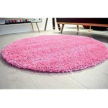 AHOC® 150cm rosa redondo círculo liso moderno Shaggy alfombras alfombrillas Circular 5cm de grosor suave alfombra (150cm Círculo, Rosa)
