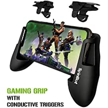 SpinBot BattleMods X2 Gaming Grip Handle with Conductive Triggers Combo for PUBG Mobile/COD Mobile/Free Fire etc-Supports for Most Android and iOS Phones-(Jet Black)