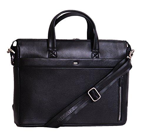 Aux femmes reel cuir Sac d'affaires Plaine Conception portable sac à main NINA Noir