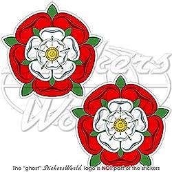 Tudor Rose von England UK ENGLISH FLOWER 75mm (7,6cm) Bumper Sticker, Aufkleber Vinyl X2