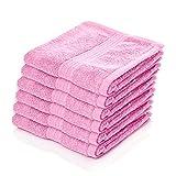 Lumaland Premium 6er Set Handtücher Frottee 50 x 100 cm aus 100% Baumwolle 500 g/m² mit Aufhänger rosé