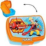 alles-meine.de GmbH Lunchbox / Brotdose -  Feuerwehrmann Sam  - Incl. Name - mit Extra Einsatz /..