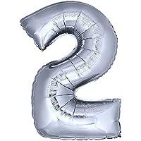 DekoRex® número globo decoración cumpleaños brillante para aire y helio en argentado 120cm de alto No. 2