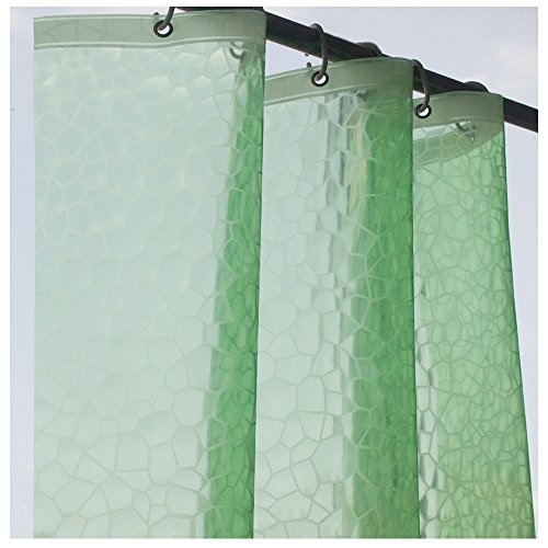 eforcurtain 3D Stil wasserdicht und nicht mehr Mehltau Duschvorhang Liner EVA Halbtransparent Bad Stall Vorhang als Stand Alone oder Liner verwendet, plastik, 3D Green, 36x72 Eva Liner