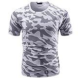 Sport Gym Tops Shirt Herren Camouflage Print Rundhalsausschnitt Pullover T-Shirt,Weiß,M