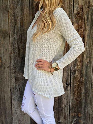 Blansdi Damen Mädchen Frauen Frühling Herbst Winter Beiläufig Tiefer V-Ausschnitt hoodied Basic Langarmshirt Pullover Flicken Lose T-Shirt Tops Hemd Bluse Oberteil Sweatshirt Beige Beige