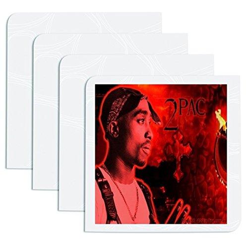 Shakur schwarz Bandana Digital schwarz & rot Fire Hintergrund Hip Hop Rap 4Drink Untersetzer Esstisch Ware Stilvolle Küche Set ()