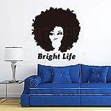 yaoxingfu Art Design Décoration De La Maison Pas Cher Vinyle Bright Life Mur Autocollant Amovible PVC Maison Décor Coloré Bouclés Cheveux Stickers en R ww-1 97x105cm
