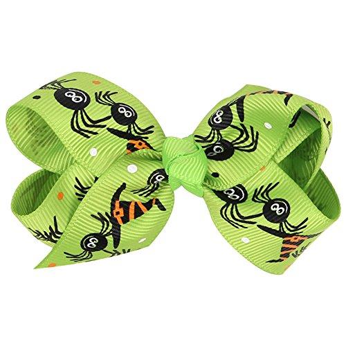 dylandy Haar Clips Haarspangen Kids Boutique Schleife Alligator Clip Ripsband Haarband Halloween Cartoon Haar Zubehör für Baby Mädchen Kinder 8* 4cm (weiß)