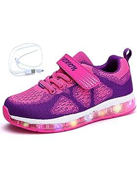 Mr.Ang Unisex LED 7 Colores de Luces con USB de Carga Primavera-Verano-Otoño Transpirables Calzado Deportivo Para...