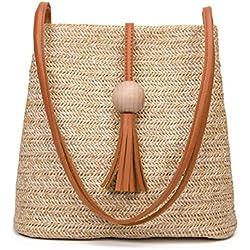 Cikuso Bolso de cuero hecho a mano de la vendimia de Bali,Bolso redondo de la playa de la paja Bolso de la rota de las muchachas,bolso pequeno de la rota de Bohemia de las muchachas(marron)