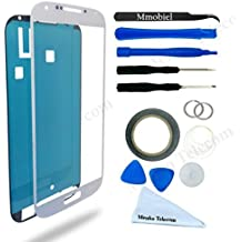 Schermo tattile di ricambio per Samsung Galaxy S4 i9500 i9505 Series BIANCO Incluso kit con 12 attrezzi sticker pretagliato / pinzetta rullo di nastro adesivo da 2 mm panno pulizia ventosa cavo metallico MMOBIEL