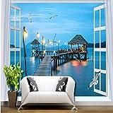 WH-PORP Foto 3D Tapete Schlafzimmer Wohnzimmer Lobby Korridor Studie Tapete Wandbild Fenster Nacht Nacht Blick auf das Meer-300cmX210cm