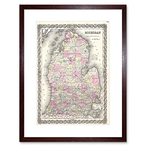 MAP COLTON 1855 MICHIGAN PRINT FRAME WOOD FRAMED PICTURE POSTER ART F12X012