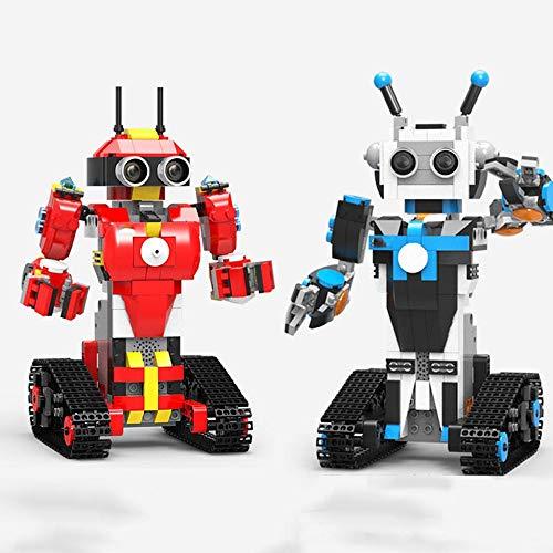 TnSok Roboterspielzeug Puzzle DIY Block-Gebäude RC Roboter Stick/App-Steuerung Programmierbare Roboter-Spielzeug Geburtstagsgeschenk für Jungen Mädchen (Color : Red, Size : 11.6x11.8x21cm)