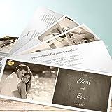 Einladungskarten Hochzeit online gestalten, Getäfelt 200 Karten, Kartenfächer 210x80 inkl. weißer Umschläge, Braun