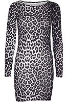 New Womens Ladies Animal Print Stretchy Long Sleeve Bodycon Mini Tunic Dress Top