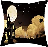 SHUCHANGLE (2pcs/Set Halloween Thema Leinen Kissenbezug Horror Burg Bäume Muster Bunte Dekorative Hause Kissenbezüge