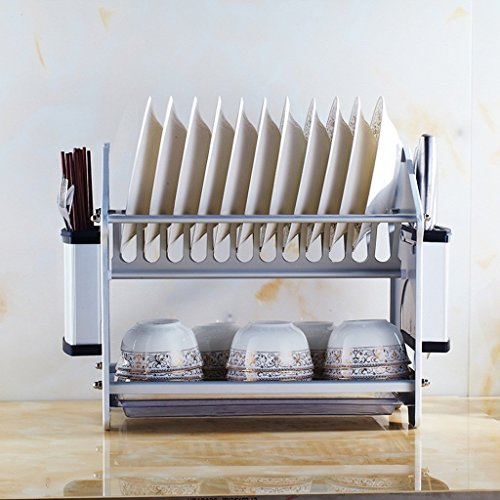 MOMO Estante multifuncional de la cocina Capas dobles Space Aluminium Dish Shelf...